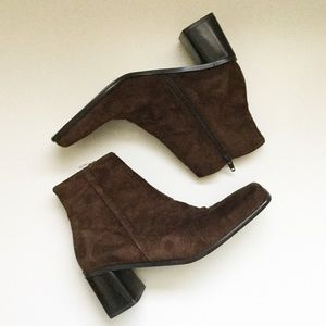 NWOT Merona Suede Square Toe Ankle Booties